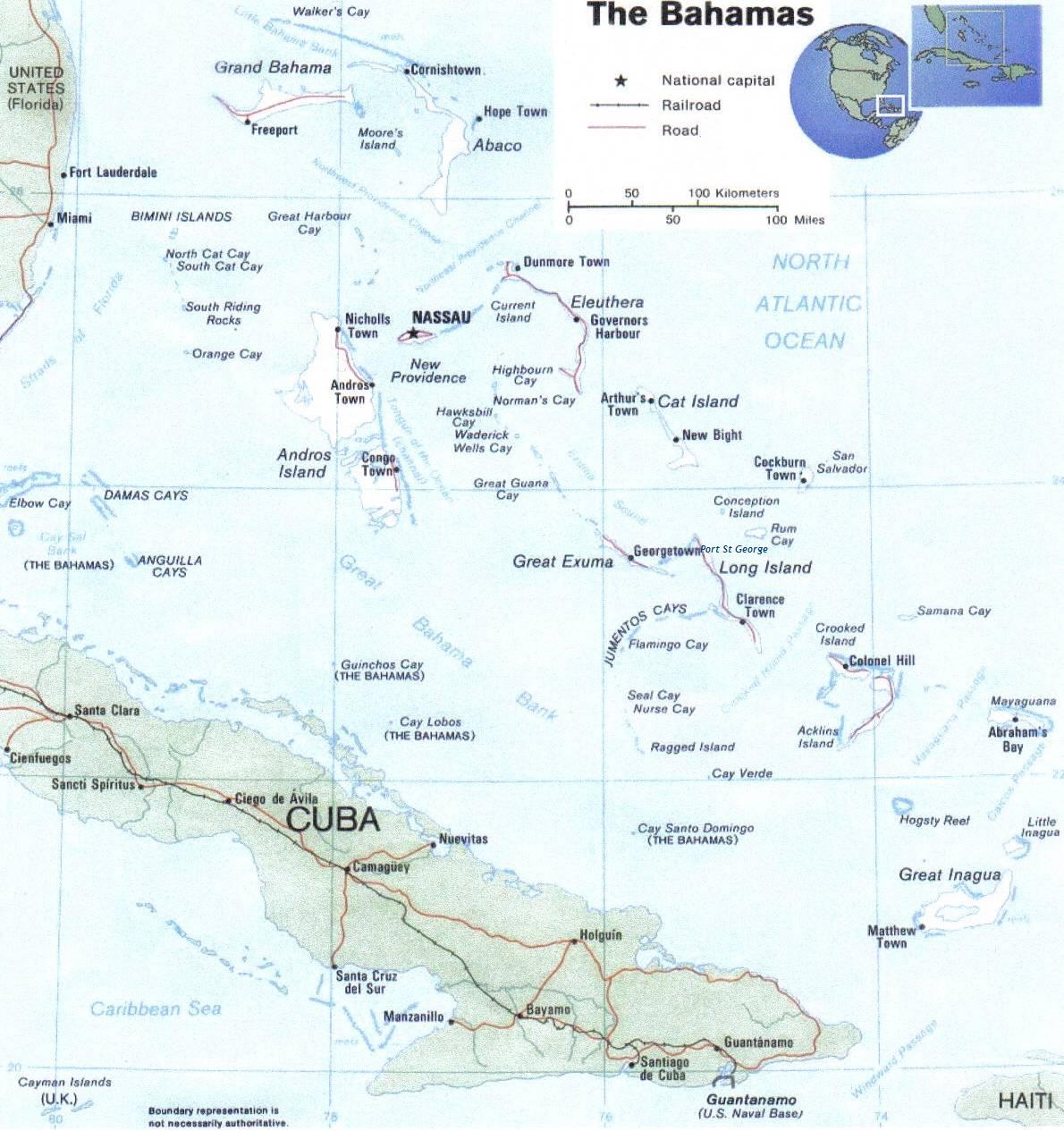Bahamas Caribbean map