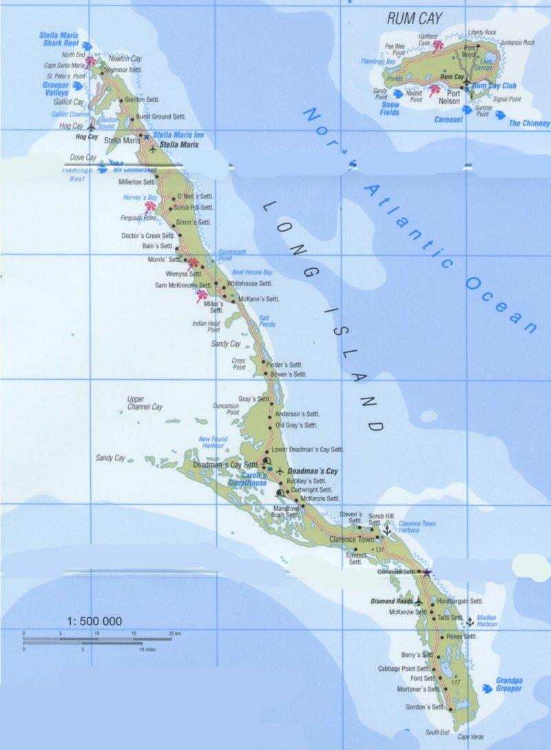 Bahamas Long Island map